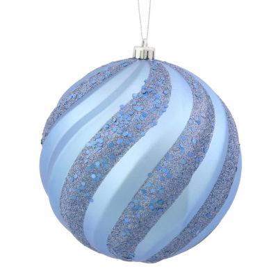 "Lake Blue Glitter Swirl Shatterproof Christmas Ball Ornament 6"" (150mm)"""