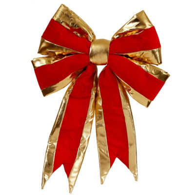 "Large 16"" x 19"" Red and Gold Indoor Velvet 4 Loop Christmas Bow"""