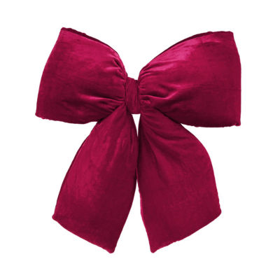 "Large 24"" x 27"" Commercial Size Burgundy Red Indoor Velvet Christmas Bow"""