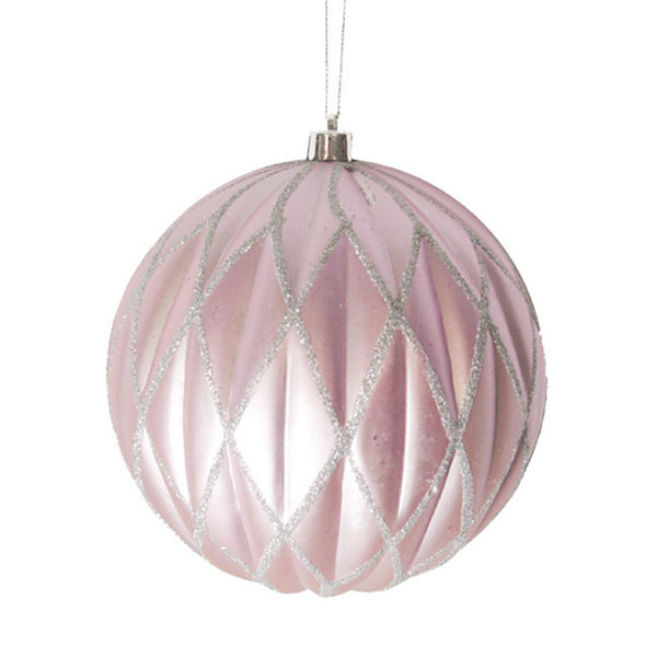 "Lavender Blush Glittered Lattice Shatterproof Christmas Ball Ornament 6"" (150mm)"""