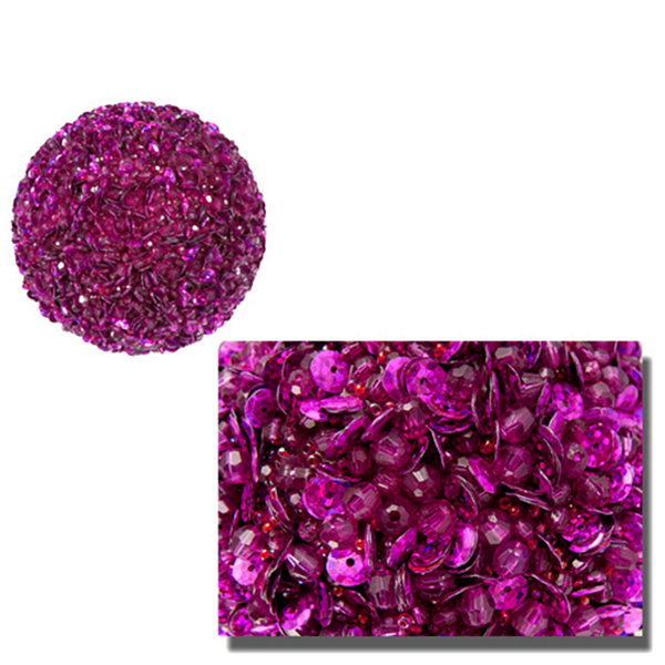 Lavish Fuschia Pink Fully Sequined & Beaded Christmas Ball Ornament 4.25""