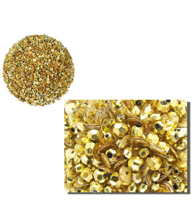 "Lavish Gold Fully Sequined & Beaded Christmas BallOrnament 4.25"" (110mm)"""
