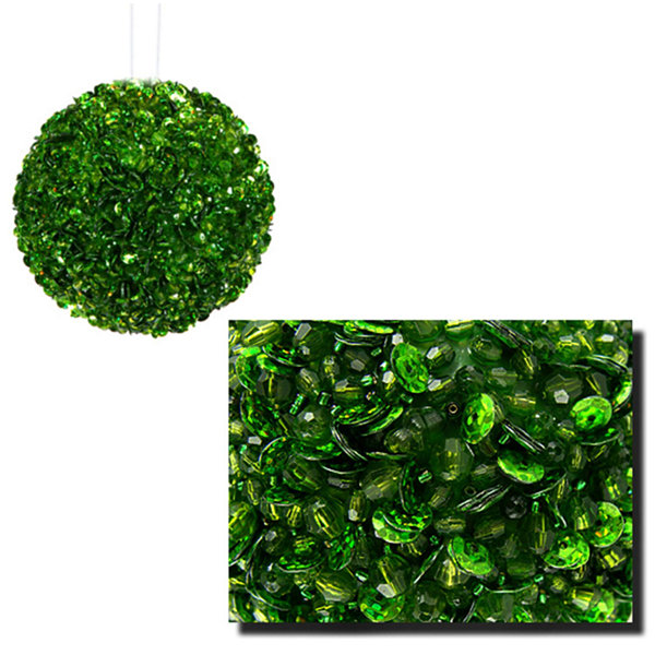 "Lavish Green Fully Sequined & Beaded Christmas Ball Ornament 3.5"" (90mm)"""