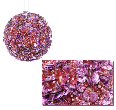 """Lavish Lilac Fully Sequined & Beaded Christmas Ball Ornament 3.5"""" (90mm)"""""""