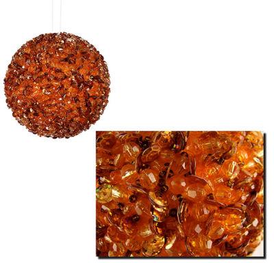 "Lavish Orange Fully Sequined & Beaded Christmas Ball Ornament 3.5"" (90mm)"""
