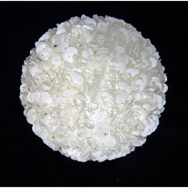 "Lavish White Fully Sequined & Beaded Christmas Ball Ornament 4.25"" (110mm)"