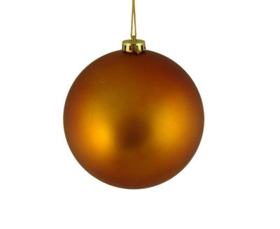 "Matte Burnt Orange Shatterproof Christmas Ball Ornament 6"" (150mm)"""