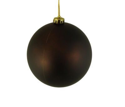 "Matte Chocolate Brown Shatterproof Christmas BallOrnament 6"" (150mm)"""