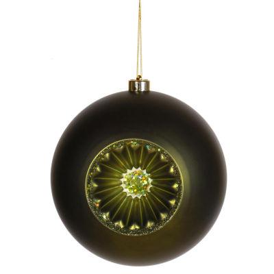 "Matte Olive Green Retro Reflector Shatterproof Christmas Ball Ornament 8""(200mm)"""