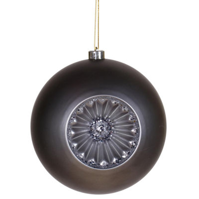 "Matte Pewter Retro Reflector Shatterproof Christmas Ball Ornament 8"" (200mm)"""