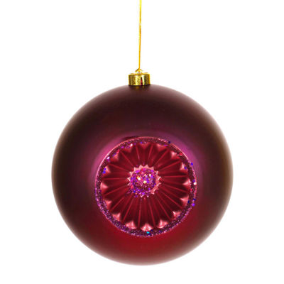 "Matte Red Plum Retro Reflector Shatterproof Christmas Ball Ornament 8"" (200mm)"""