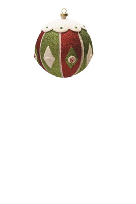 "Merry & Bright Red  White and Green Glitter Shatterproof Christmas Ball Ornament 4"" (100mm)"