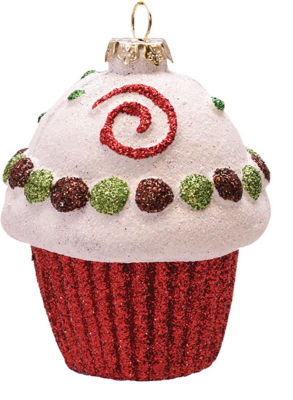 """Merry & Bright Red  White and Green Glitter Shatterproof Cupcake Christmas Ornament 3.25"""""""