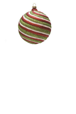 "Merry & Bright Red  White and Green Glitter SwirlShatterproof Christmas Ball Ornament 4"" (100mm)"""