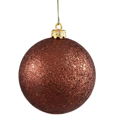 "Mocha Brown Holographic Glitter Shatterproof Christmas Ball Ornament 4"" (100mm)"