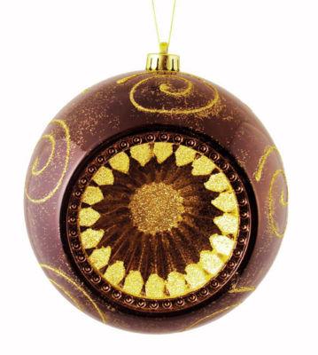 "Mocha Brown Retro Reflector Shatterproof ChristmasBall Ornament 8"" (200mm)"