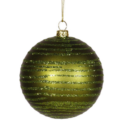 "Olive Green Glitter Striped Shatterproof ChristmasBall Ornament 3"" (75mm)"