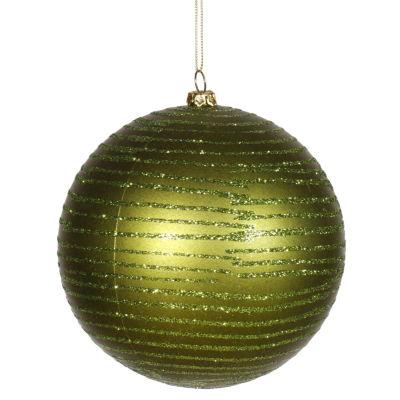 "Olive Green Glitter Striped Shatterproof ChristmasBall Ornament 4.75"" (120mm)"""