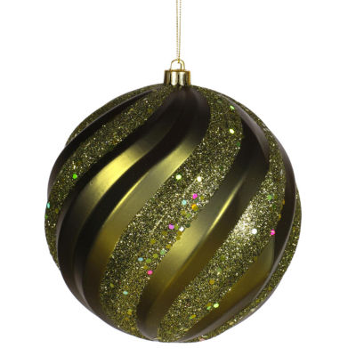 "Olive Green Glitter Swirl Shatterproof Christmas Ball Ornament 6"" (150mm)"""
