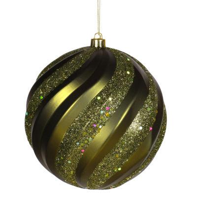 "Olive Green Glitter Swirl Shatterproof Christmas Ball Ornament 6"" (150mm)"""