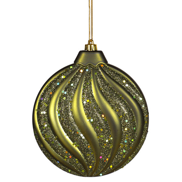 "Olive Green Glitter Swirl Shatterproof Christmas Disc Ornament 6"" (150mm)"""