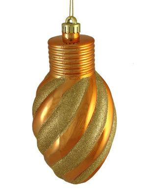 """Orange And Gold Glitter Stripe Shatterproof Light Bulb Christmas Ornament 11"""""""
