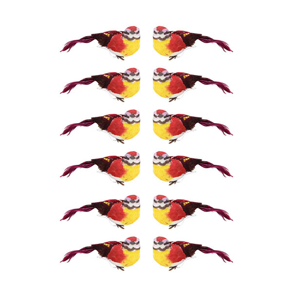 Pack of 12 Graceful Elegance Red and Yellow Bird Christmas Ornaments 4.75""