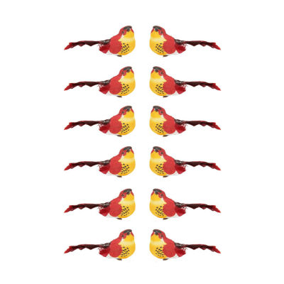 """Pack of 12 Red and Dark Burgundy Smoke Spotted Bird Christmas Ornaments 5"""""""