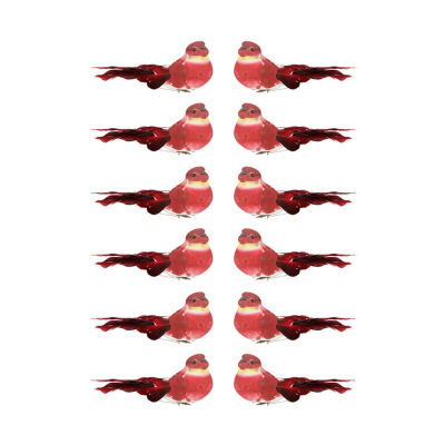 """Pack of 12 Red and White Smoke Spotted Bird Christmas Ornaments 5"""""""