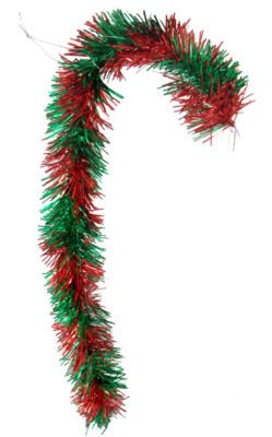 """Pack of 2 Red and Green Candy Cane Tinsel Christmas Ornaments 18"""""""
