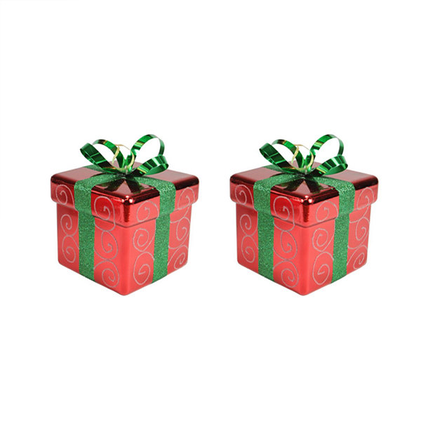 Pack of 2 Red and Green Gift Box Shatterproof Christmas Ornaments 6""