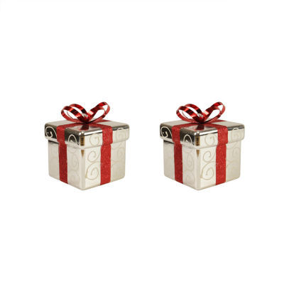 """Pack of 2 Silver and Red Gift Box Shatterproof Christmas Ornaments 6"""""""