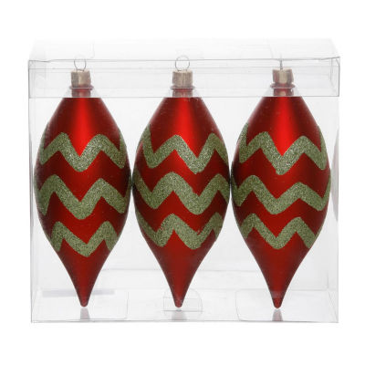 "Pack of 3 Matte Red & Lime Green Glitter Chevron Striped Christmas Teardrop Ornaments 4.75"" (121mm)"""