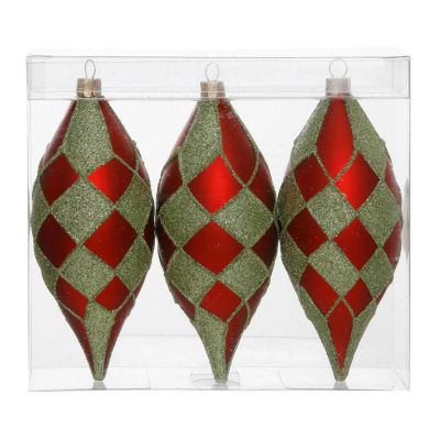 """Pack of 3 Matte Red and Lime Green Glitter Diamond Christmas Teardrop Ornaments 4.75"""" (121mm)"""""""