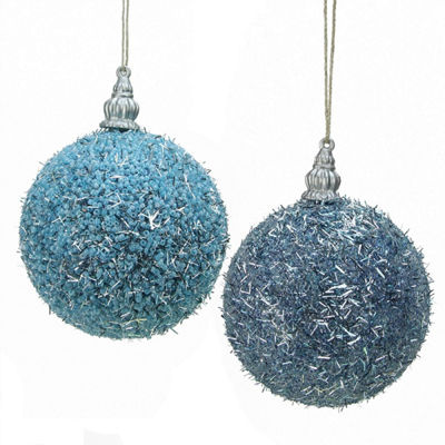 "Pack of 4 Light Blue Beaded Silver Tinsel ConfettiChristmas Ball Ornaments 3"" (75mm)"""