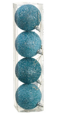 "Pack of 4 Light Blue Beaded Silver Tinsel ConfettiChristmas Ball Ornaments 4"" (100mm)"""
