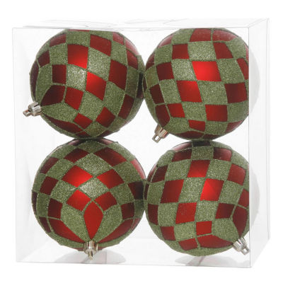 "Pack of 4 Matte Red and Lime Green Glitter DiamondChristmas Ball Ornaments 4"" (100mm)"""