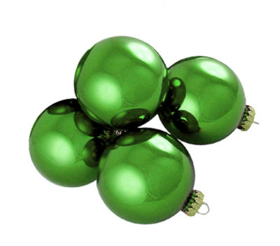 "Pack of 4 Shiny Dasher Green Glass Ball ChristmasOrnaments 4"" (100mm)"""