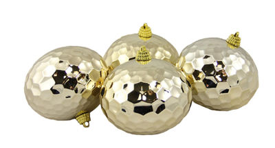 """Pack of 4 Shiny Gold Shatterproof Hammered Disco Ball Christmas Ornaments 3.25"""""""