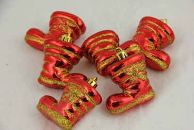 Pack of 6 Red Shiny Shatterproof Glitter Boot Christmas Ornaments 2""