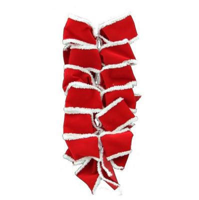 """Pack of 6 Red Velveteen Bows with White Edges Christmas Decorations 4.5"""" x 4"""""""
