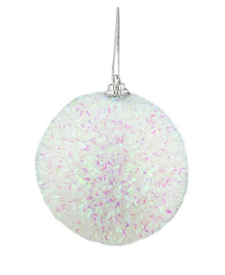 Pack of 7 Decorative Iridescent White  Pink and Green Bristled Christmas Ball Ornaments 3""