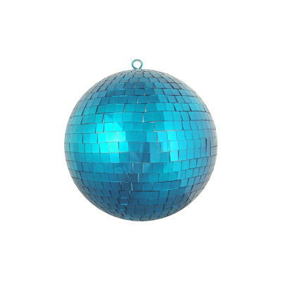 "Peacock Blue Mirrored Glass Disco Ball Christmas Ornament 8"" (200mm)"""