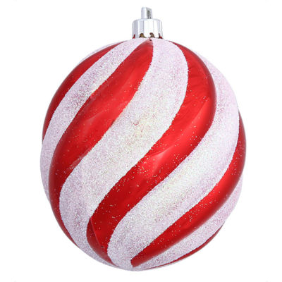 Peppermint Twist Candy Cane Spiral Shatterproof Oval Ball Ornament 4
