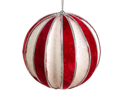 "Peppermint Twist Red and Glitter Christmas Ball Ornament 5"" (127mm)"""