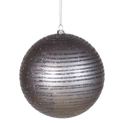 "Pewter Glitter Striped Shatterproof Christmas Ball Ornament 4"" (100mm)"""