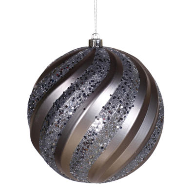 "Pewter Matte and Glitter Swirl Shatterproof Christmas Ball Ornament 6"" (150mm)"""
