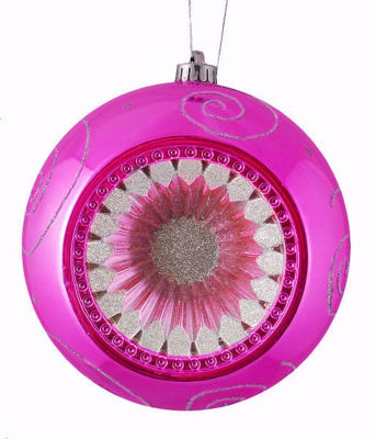 "Pink Magenta Retro Reflector Shatterproof Christmas Ball Ornament 8"" (200mm)"""