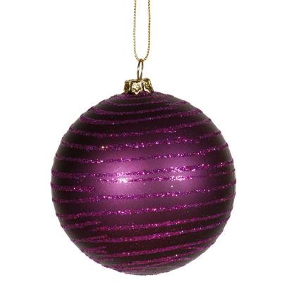 "Plum Purple Glitter Striped Shatterproof Christmas Ball Ornament 3"" (75mm)"""