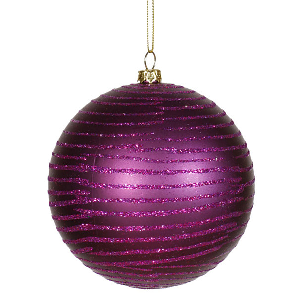 "Plum Purple Glitter Striped Shatterproof Christmas Ball Ornament 4"" (100mm)"""
